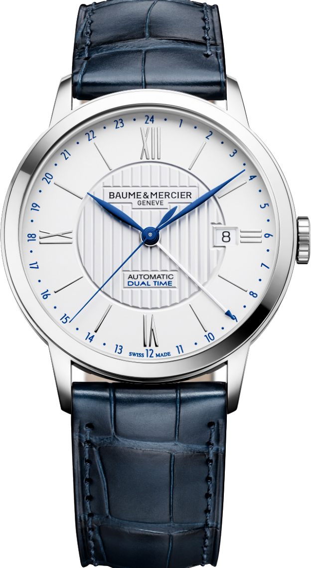 "10272 | MOA10272  NEW BAUME et MERCIER CLASSIMA DUAL TIME MEN'S AUTOMATIC LUXURY WATCH In Stock - Immediate Delivery Available   - Free Overnight Shipping | Lowest Price Guaranteed - No Sales Tax (Outside California) - With Manufacturer Serial Numbers - Swiss Made  - Opaline Guilloche Silver Dial  - Index & Roman Numeral Hour Markers - Date Feature  - GMT Second Time Zone Feature - 42 Hour Power Reserve  - Self-winding Automatic Movement  - Vibrations Per Hour: 28,800  - Jewels: 21  - Lifetime Warranty Included ($295 Value)  - Guaranteed Authentic  - Certificate of Authenticity  - Manufacturer Box & Manual  - Polished Stainless Steel Case  - Blue Leather Strap with Crocodile Pattern  - Scratch Resistant Sapphire Crystal  - 50 Meters / 165 Feet Water-Resistant  - 40mm = 1 1/2"" Case, 7"" Adjustable Strap - Case Thickness: 9.2mm  - Fixed Bezel  - Sapphire Crystal Exhibition Case Back  - Push & Pull Crown   - Stainless Steel Deployment Buckle    &nbsp &nbsp"