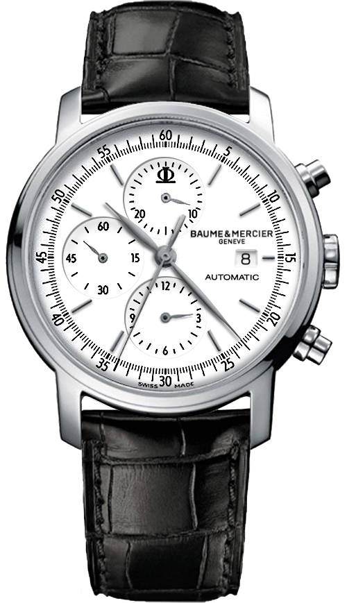 8591 | MOA8591   NEW BAUME et MERCIER CLASSIMA EXECUTIVES MEN'S DRESS WATCH ON SALE  In Stock - Immediate Delivery Available  - Free Overnight Shipping | Lowest Price Guaranteed - No Sales Tax (Outside California) - With Manufacturer Serial Numbers - Swiss Made  - Silver Grained White Dial  - Index Hour Markers  - Polished Stainless Steel Bezel  - Date Feature  - Chronograph Feature  &nbsp &nbsp Large Central Chronograph Second Hand  &nbsp &nbsp 30 Minute Counter Sub-Dial at 12 O'clock  &nbsp &nbsp 12 Hour Counter Sub-Dial at 6 O'clock    - Small Seconds Sub-Dial at 9 O'clock  - 42 Hour Power Reserve  - Self-winding Automatic Movement  - Caliber ETA 7750  - Vibrations Per Hour: 28,800  - Jewels: 25  - Lifetime Warranty Included ($295 Value)  - Guaranteed Authentic  - Certificate of Authenticity  - Manufacturer Box & Manual  - Polished Stainless Steel Case  - Black Leather Strap with Crocodile Pattern  - Scratch Resistant Sapphire Crystal  - 30 Meters / 100 Feet Water-Resistant  - 42mm