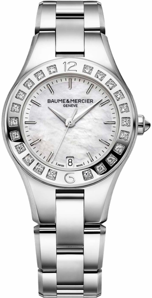 Baume & Mercier Linea Pearl White Dial & Diamonds Women's Watch 10072