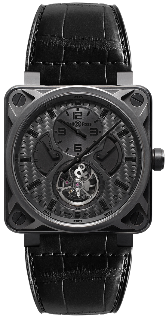 Rose Gold Women's Watches Bell & Ross Aviation Instruments Black Carbon Fiber Dial Watch BR01-TOURB-PHANTOM