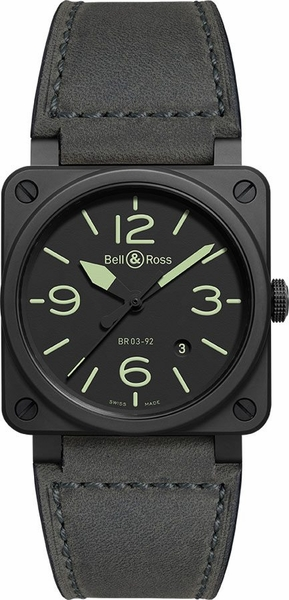 Bell & Ross Aviation Instruments Black Ceramic Men's Watch BR0392-BL3-CE/SCA