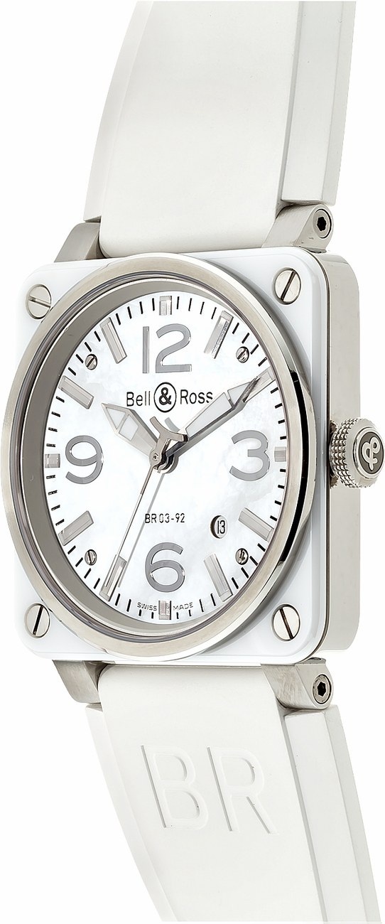 77c65fb04 ... Bell & Ross Aviation White Ceramic Women's Watch BR0392-WH-C - image ...