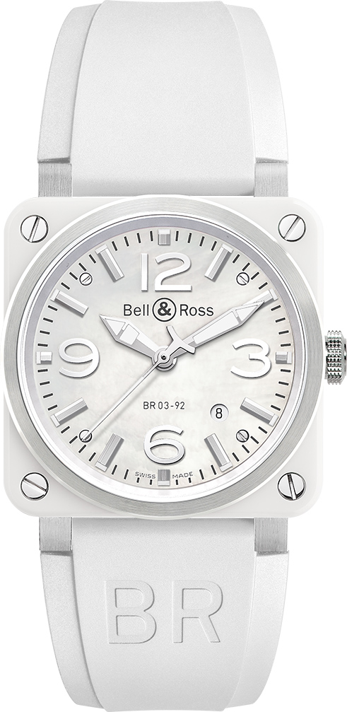 21ff2609a Bell & Ross Aviation White Ceramic Women's Watch BR0392-WH-C