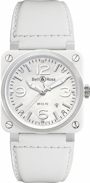 Bell & Ross Aviation Instruments Women's Automatic Watch BR0392-WH-C/SCA