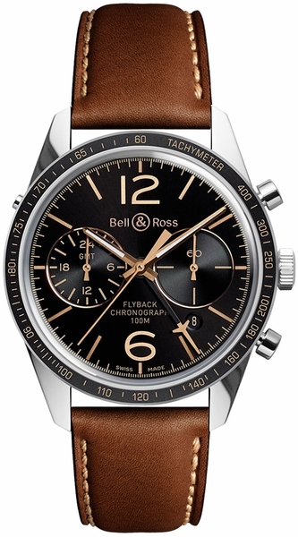 Bell & Ross Vintage GMT Flyback Limited Edition Men's Watch BRV126-FLY-GMT/SCA