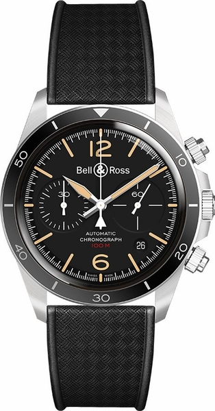 Bell & Ross Vintage Black Dial Men's Watch BRV294-HER-ST/SRB