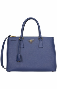 Blue Prada Saffiano Lux Medium Double-Zip Tote Bag