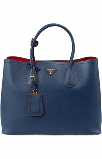 Blue with Red Lining Prada Saffiano Cuir Double Large Tote Bag