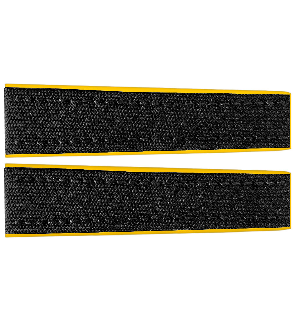 Breitling 22mm Black Fabric Yellow Rubber Strap 284s