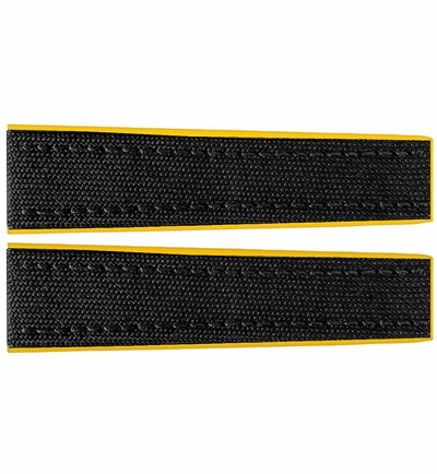 Breitling 22mm Black Fabric Strap with Yellow Rubber Inner Lining 284S