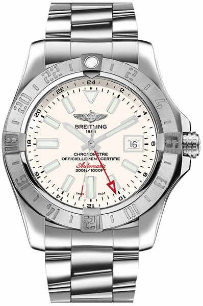Breitling Avenger II GMT Stratus Silver Dial Men's Watch A32390111G1A1