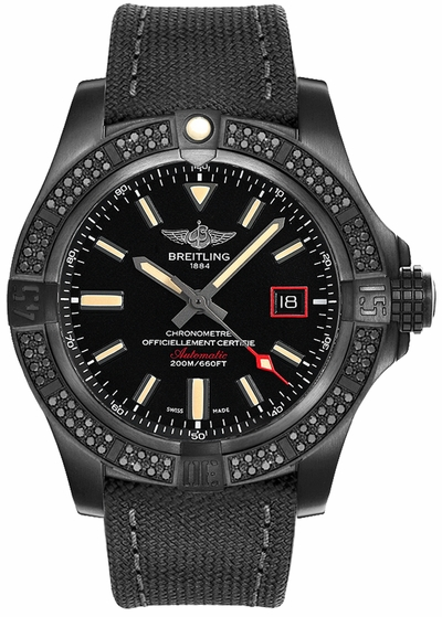 Breitling Avenger Blackbird 44 Black Titanium Diamond Bezel Men's Watch  V17311AT/BD74-109W