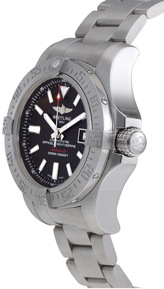 A1733110 bc30 169a breitling avenger ii seawolf mens black dial steel watch for Avenger watches