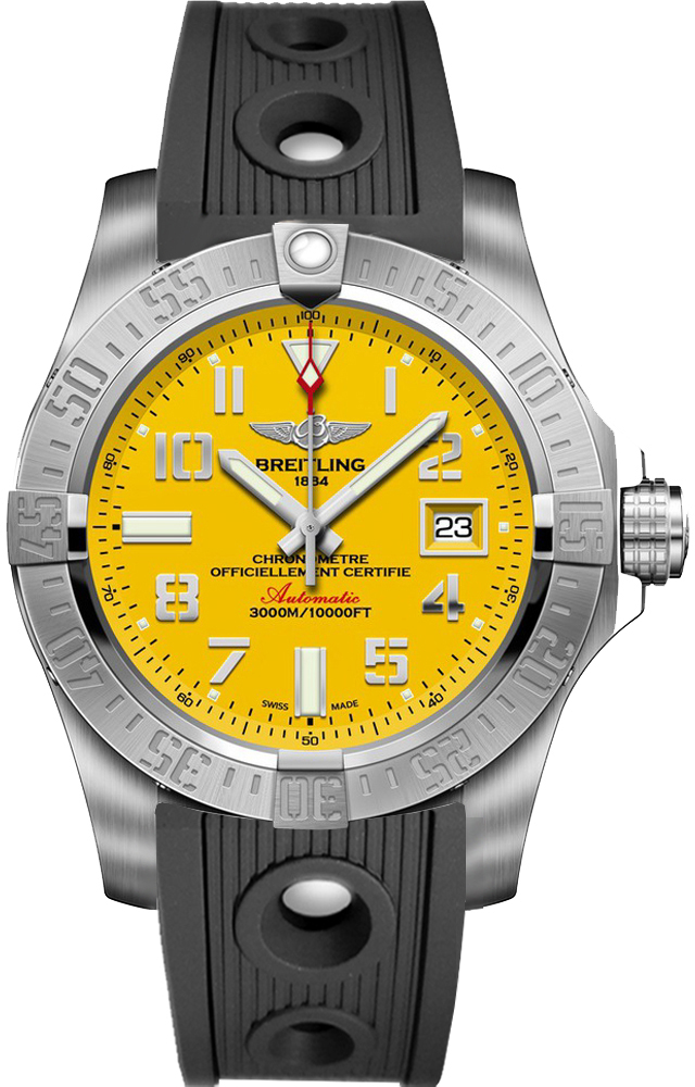 A1733110 i519 200s breitling avenger ii seawolf mens yellow dial black strap watch for Avengers watches