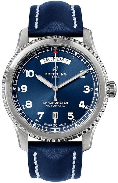 Breitling Aviator 8 Day Date Blue Dial Men's Watch A45330101C1X5