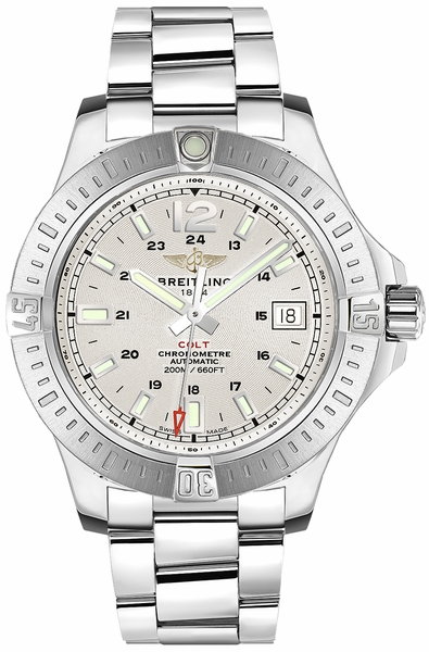 Breitling Colt 41 Automatic Stratus Silver Dial Men's Watch A1731311/G820-182A