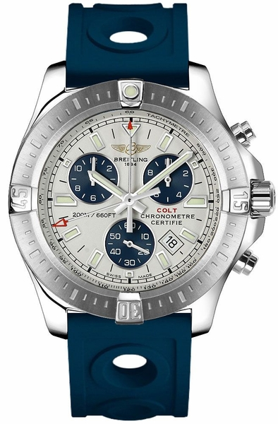 Breitling Colt Chronograph Steel on Blue Rubber Strap Men's Watch A7338811/G790-228S
