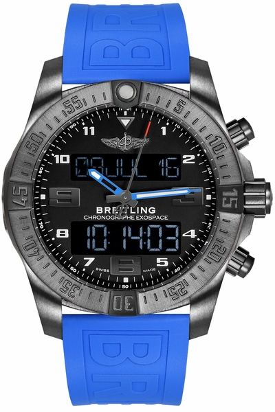 Breitling Exospace B55 Black Titanium Blue Strap Men's Watch VB5510H21B1S1