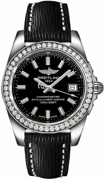 Breitling Galactic 36 Black Dial Diamond Ladies Watch A7433053/BE08-213X