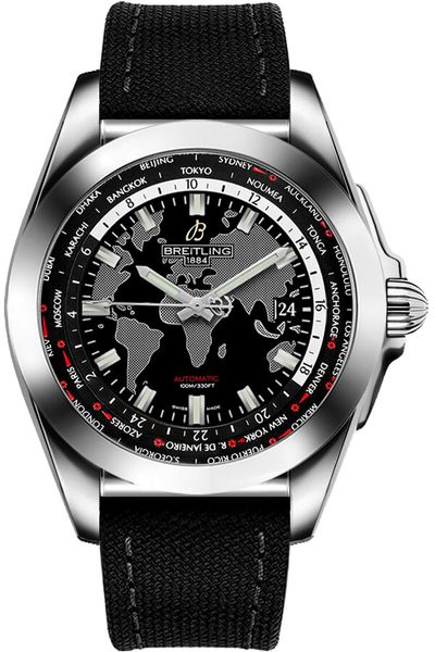 Breitling Galactic Unitime Black Canvas Men's Watch WB3510U4/BD94-103W