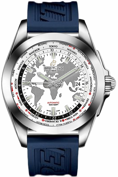 Breitling Galactic Unitime World Map White Dial Men's Watch WB3510U0/A777-121S