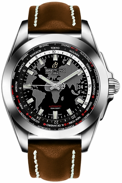 Breitling Galactic Unitime Black Dial Men's Watch WB3510U4/BD94-437X