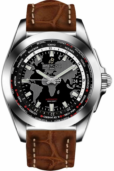 Breitling Galactic Unitime Trophy Black Dial Men's Watch WB3510U4/BD94-500P