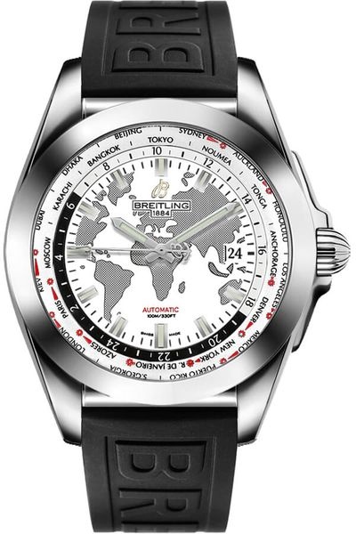 Breitling Galactic Unitime White Dial Men's Watch WB3510U0/A777-152S