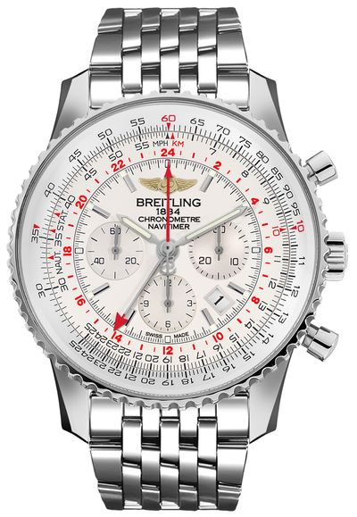 Breitling Navitimer GMT Silver Dial Chronograph Men's Watch AB0441211G1A1