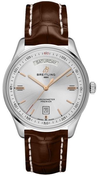 Breitling Premier Day Date Silver Dial Men's Watch A45340211G1P2