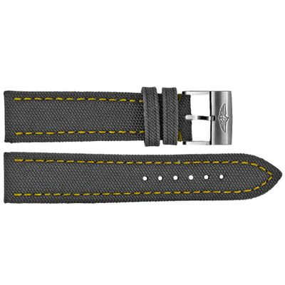 Breitling 24mm Anthracite Canvas Watch Strap with Yellow Stitching 113W