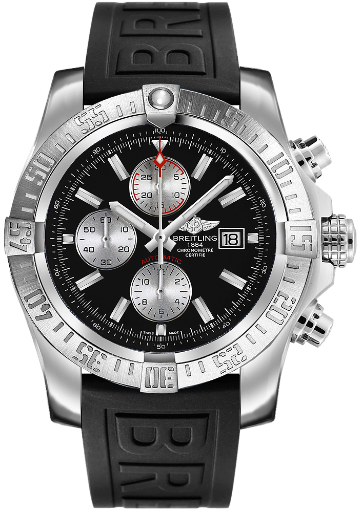 A1337111 bc29 154s breitling super avenger ii black dial men 39 s watch for Avenger watches