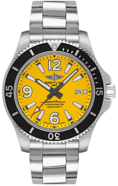 Breitling Superocean Automatic 44 Yellow Dial Men's Watch A17367021I1A1