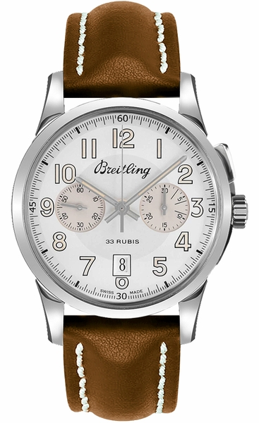 Breitling Transocean Chronograph 1915 Manual Winding Silver Dial Men's Watch AB141112/G799-433X