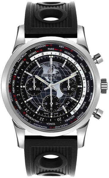 Breitling Transocean Chronograph Unitime Black Dial Men's Watch AB0510U4/BE84-201S