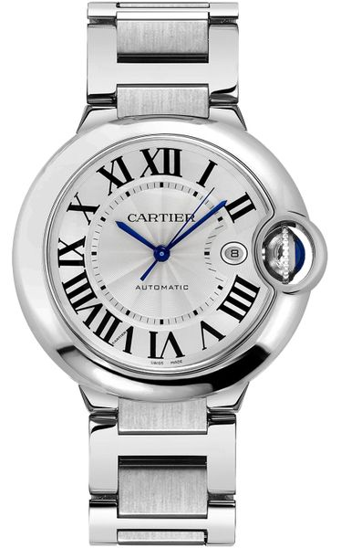 Cartier Ballon Bleu Guilloche Silver Dial Men's Dress Watch W69012Z4