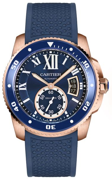 Cartier Calibre de Cartier Diver Blue Dial Solid 18k Rose Gold Men's Watch WGCA0010