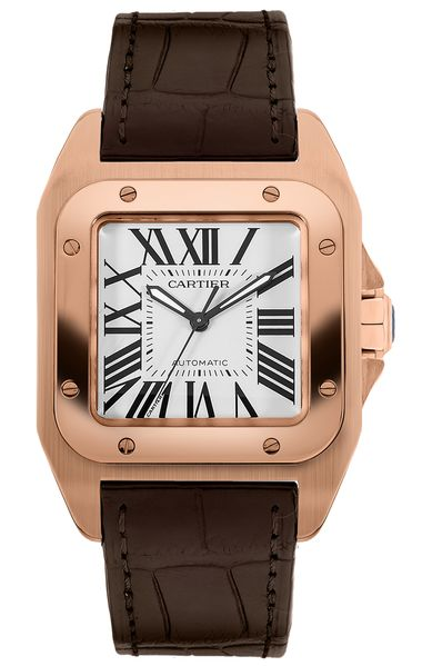 Cartier Santos 100 18k Rose Gold Men's Watch W20108Y1