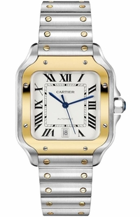 Cartier Santos De Cartier Medium Gold & Steel Men's Watch W2SA0007