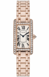 Cartier Tank Americaine Solid 18k Rose Gold Women's Watch WB7079M5