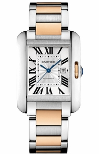 Cartier Tank Anglaise Solid 18k Rose Gold & Steel Luxury Watch W5310006