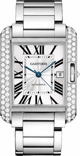 Cartier Tank Anglaise Solid 18k White Gold Luxury Watch WT100010