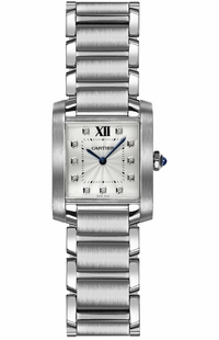 Cartier Tank Francaise Silver & Diamond Dial Women's Watch WE110007