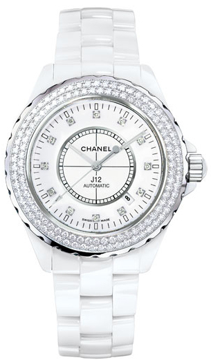 cf64eba1ca176 H2013 J12 Chanel Ceramic White Diamond Dial and Bezel Womens Automatic Watch .