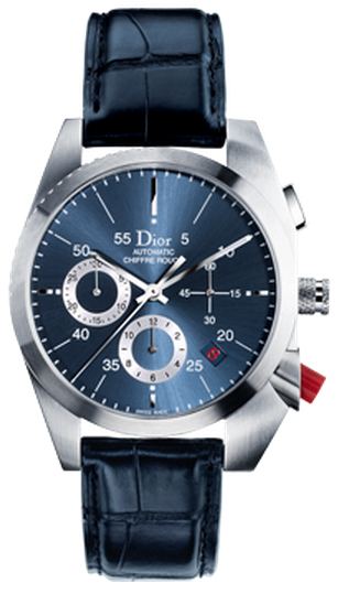Cd084610a002 Christine Dior Chiffre Rouge Automatic Chronograph Watch Steel Case Leather Strap