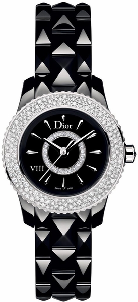 Christian Dior VIII Black Dial & Diamond Women's Dress Watch CD1221E5C001