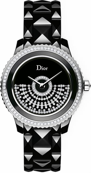 Christian Dior VIII Black Ceramic Diamond Women's Watch CD123BE0C001