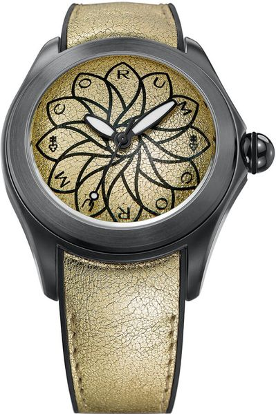 Corum Bubble 42 Gold Dial Women's Watch 082.410.98/0065 VO65