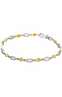 Diamond Bracelet, .13 Carat Diamonds on 14K White & Yellow Gold