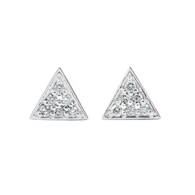 Diamond Pave Triangle Stud Earrings, 0.12 Carat on 14k White Gold
